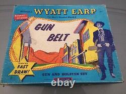 Vintage 1950's Wyatt Earp Gun Belt Diecast Western Cap Gun & Holster Set