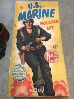 Vintage 1950s Halco US USMC Marine Holster Cap Gun Set