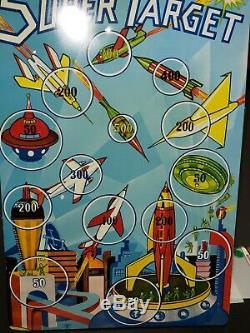 Vintage 1950s, Superior USA Rocket Space Dart Gun Toy & Large Tin Target Board