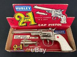 Vintage 1958 #252 HUBLEY 2 In 1 Toy Cap Gun WithInterchangeable Barrels & Orig Box