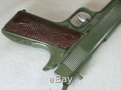 Vintage 1960's Marx Army play set pistol cap gun helmet belt mess kit, dog tags