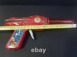 Vintage 1960s ray gun tin space cosmic toy lithographed atomic Japan NOS 22cm