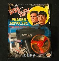 Vintage 1975 Official Star Trek Phaser Toy Gun In Original Box With Saucers