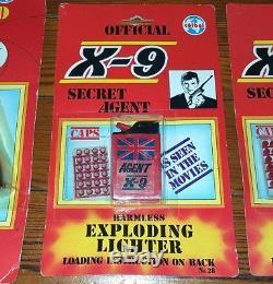 Vintage 1985 James Bond Secret Agent Toy Set Lighter Pen Cap Gun Pistol X-9 007