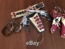 Vintage 60'S ORNATE LEATHER ROY ROGERS COWBOY 2 CAP GUN. Spurs HOLSTER