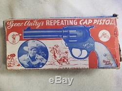 Vintage Gene Autry's Reaping Cap Pistol Toy Gun with White Plastic Grip withBox