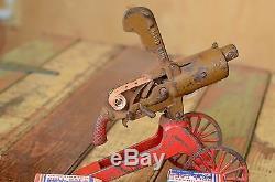 Vintage Grey Iron cast iron WWI style Rapid fire machine gun cap gun toy 1920