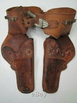 Vintage Gunsmoke Marshal Matt Dillon leather holster with 2 Pony Boy cap guns