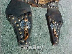 Vintage HOPALONG CASSIDY Cowboy Western Leather Holsters For Toy Cap Guns