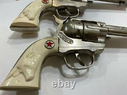 Vintage Hubley 50/60's Full Size Long Barrel Cowboy Cap Guns & Jeweled Holster