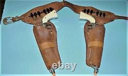 Vintage Hubley Colt 45 Guns And Leather Holster Set With Bullets & Original Box