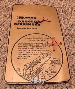 Vintage Hubley Dagger Derringer Toy Cap Gun, U. S. A. On Card