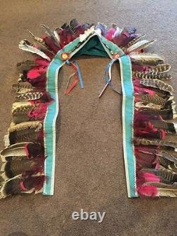 Vintage Indian Head Dress Piece American Cowboy Chief Western Cap Gun Rare