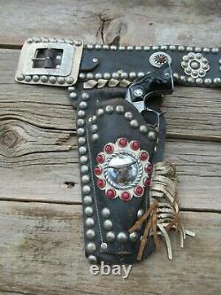Vintage Keystone Cap Gun Holster Set-Hubley Texan Guns-Early 1950s