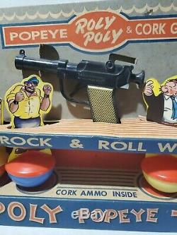 Vintage Knickerbocker Popeye Rolly Polly Cork Gun Target Set