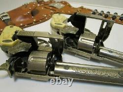 Vintage Leslie Henry Gene Autry 44 Cap Guns & Gene Autry Flying A Dual Holster