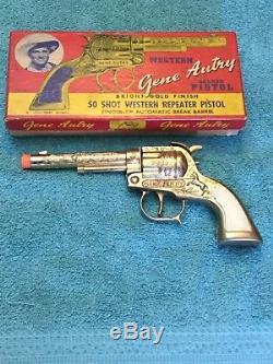 Vintage Leslie-Henry Gold Finish Gene Autry Cap Gun With Box