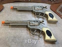 Vintage Leslie Henry Wagon Train Toy Cap Guns With Double Leather Holster