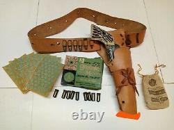Vintage MATTEL FANNER CAP GUN PISTOL HOLSTER BULLETS CAPS BOX CLOTH BAG 1950`s