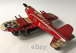 Vintage Marx 712 Tin Wind Up U. S. Army WW2 Fighter Airplane Sparking Guns