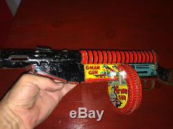 Vintage Marx G-Man Wind Up Tommy Machine Gun Works
