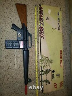 Vintage Marx Toy Gun Assault Rifle Pull Back Action Recoiling MuzZle Stony box