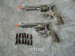 Vintage Mattel Shootin' Shell cap guns with Belt & 12 bullets 1958-65 GREAT