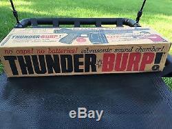 Vintage Mattel Toy Thunder Burp Submachine Gun With Vibrasonic Sound With Box