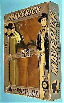 Vintage Maverick Diamond H Brand Twin 45 Guns & Holsters In Nice Original Box