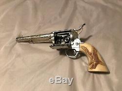 Vintage Metal Marx Thunder Gun Thundergun Cap Gun Eagle & Bull Pistol Grip 1950s