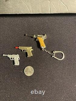 Vintage Miniature 2 mm Pinfire Cap Gun Replica Keychain Walther Charm Lot Of 3