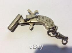 Vintage Miniature-Mechanical working Cap Gun Pistol Watch chain fob item