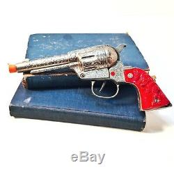 Vintage Nichols Silver Colt Die Cast Cap Gun with Red Plastic Grip RARE