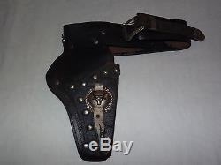 Vintage Old Child's Cowboy Western Leather Hopalong Cassidy Belt & Gun Holster