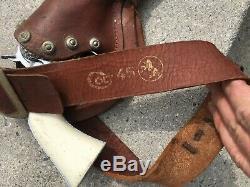 Vintage Original 1950's Hubley Colt 45 Cap Gun Toy w leather holster