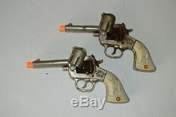 Vintage RARE 1940 STEVENS BUFFALO BILL plated cast iron Cap Gun SET & HOLSTER