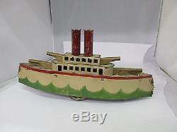 Vintage Schieble Pressed Steel Hill Climber Battleship / Gun Boat Toy G-509