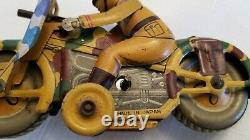 Vintage Tin Military Windup Motorcycle Mounted Gun Made in Japan