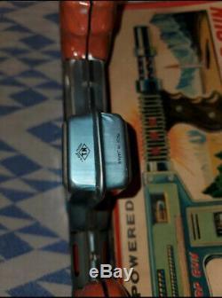 Vintage Tin Toy Machine Gun JUNIOR BURP GUN Japan Box