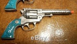 Vintage Toy Cap Gun Set Hubley Texan 38 1950's