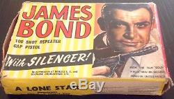 Vintage Toy Gun James Bond 007 Cap Pistol SEAN CONNERY LONE STAR ENGLAND MIB 60s