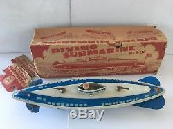 Vintage Wolverine Diving Submarine S-88 With Box 13 Submersible 1940s Two Gun