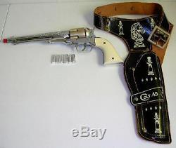 Vtg. Hubley Colt 45 Toy Cap Gun withGold Cylinder 6 silver bullets withHolster RARE