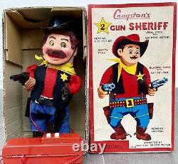 YONEZAWA Cragstans TWO GUN SHERIFF Tin Vinyl Toy Battery Op. Japan Anni 50